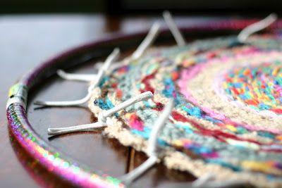 Flax Twine Craft Diy Woven Finger Knitting Hula Hoop Rug