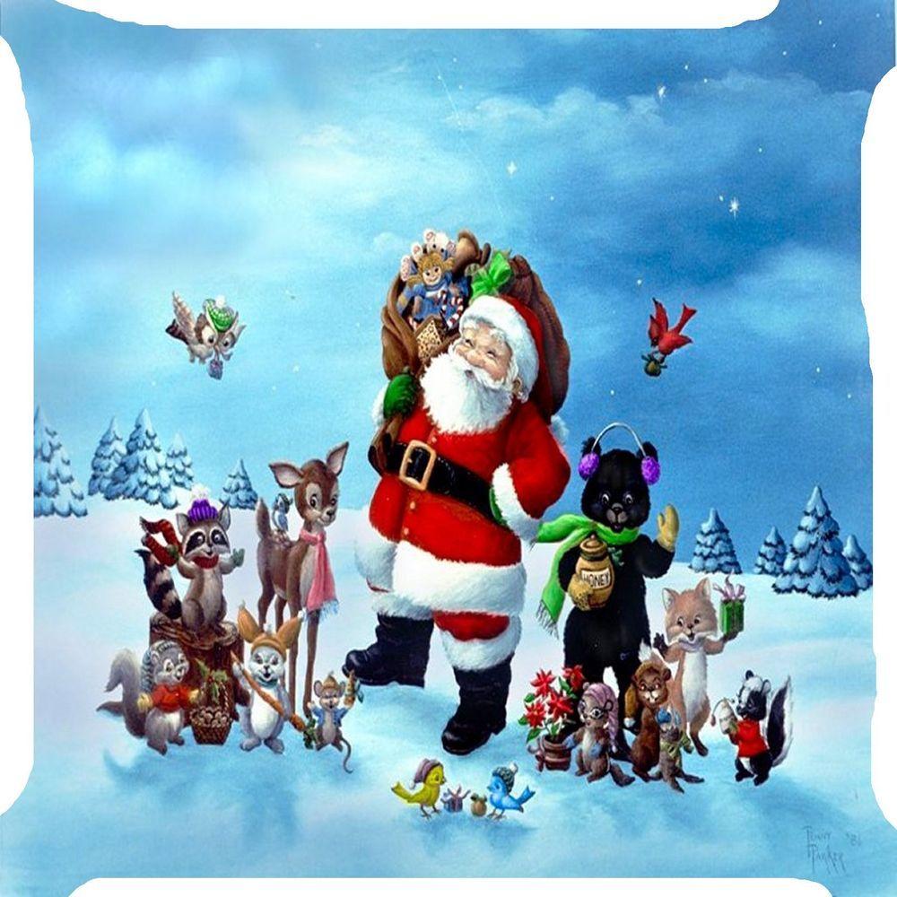Christmas Santa Claus animals bear reindeer squirrel rabbi