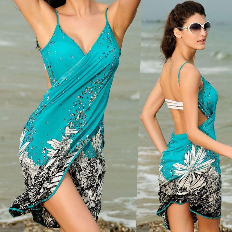 f1e05f0e67 Women Beach Dress Sexy sling beach wear dress sarong bikini cover-ups wrap  Pareo skirts towel Open-Back swimwear