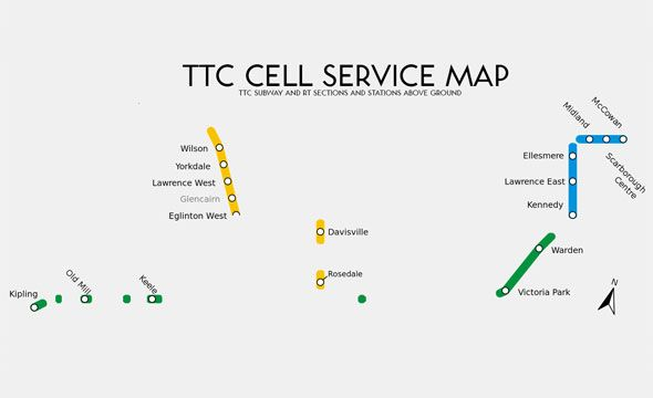 A cellular service map of the Toronto subway maps