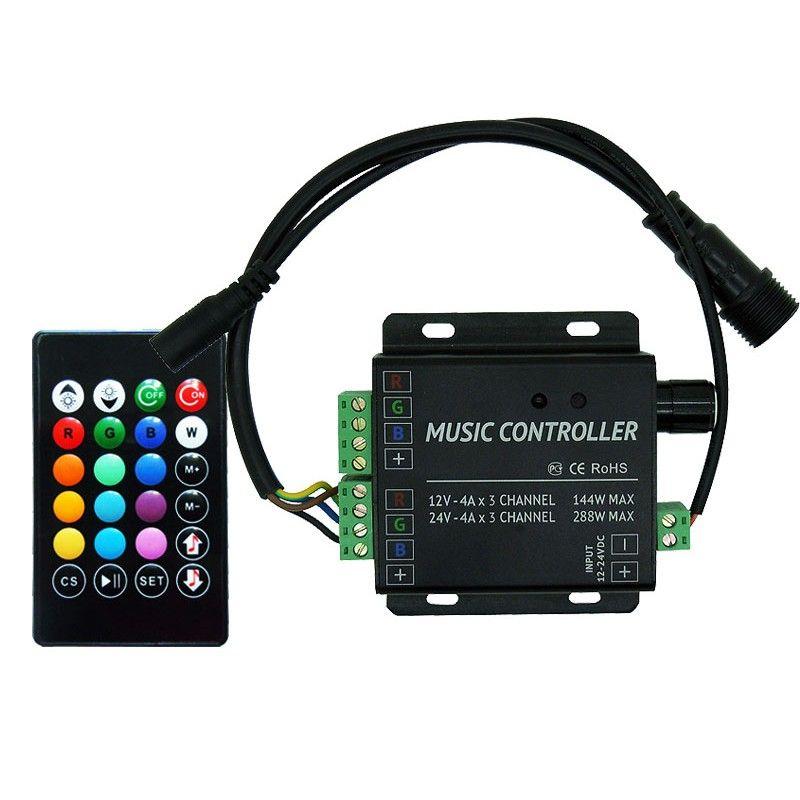 Ir Music Rgb Led Controller 2 Channel 4a Ch Dc12v 24v Led Controller Music Rgb Led