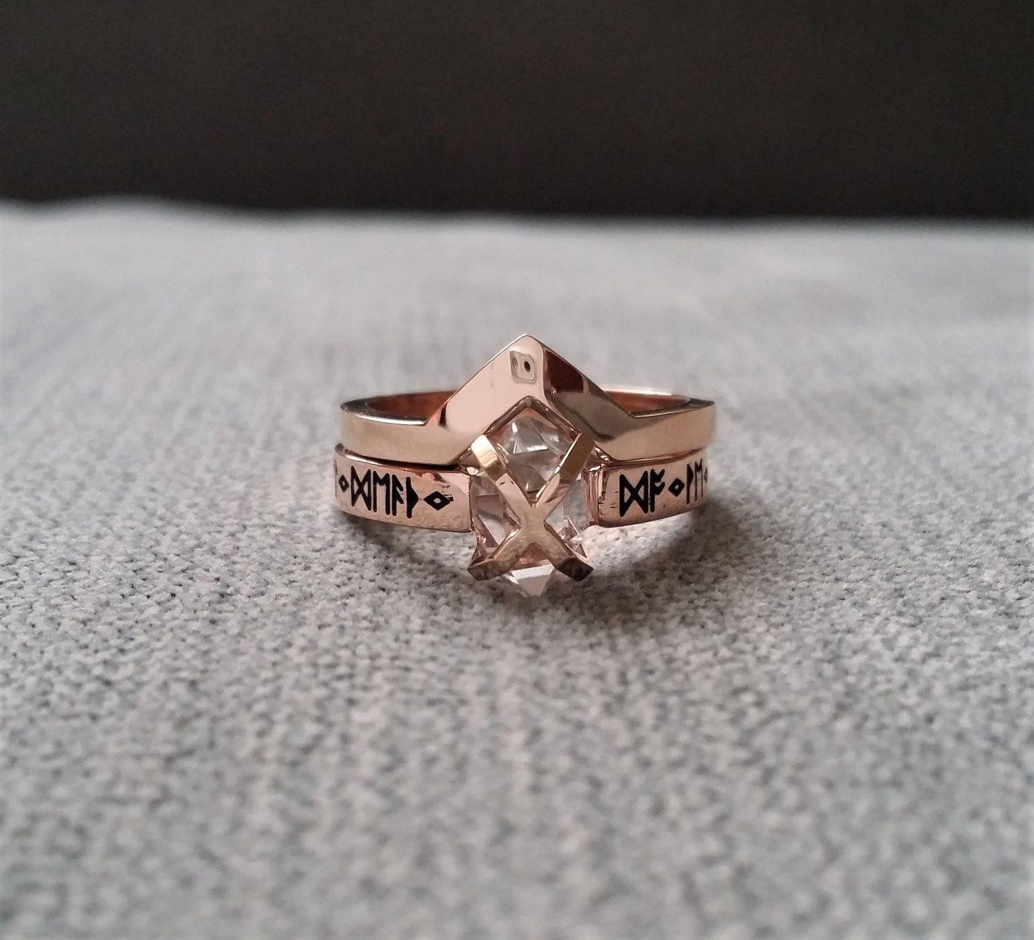 Wedding Band Only Rustic Band to Match Nordic Runes