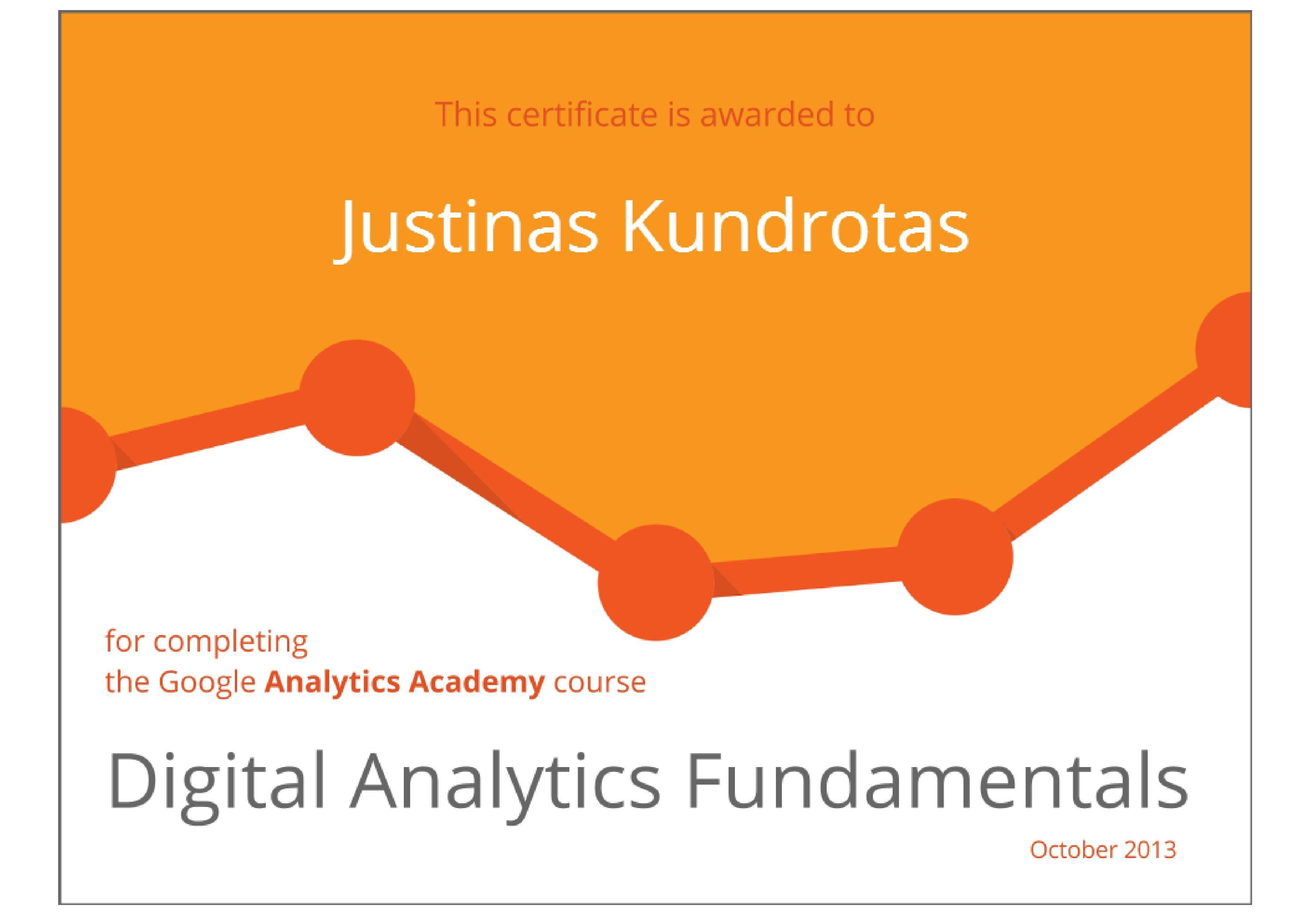 Digital analytics fundamentals certificate google