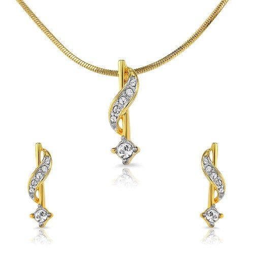 Mahi Gold Plated Sparkling Star Pendant set With Crystals - Online Shopping for Necklaces by Mahi Fashion Jewelry