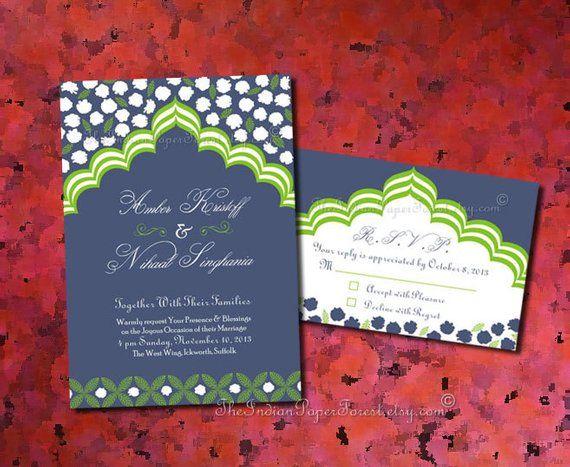 Indian Wedding Invitation Card Set PALACE ROMANCE Suite Diy Pdf