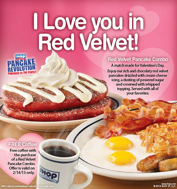 IHOP coupon 2013 FREE coffee with the purchase of a Red Velvet