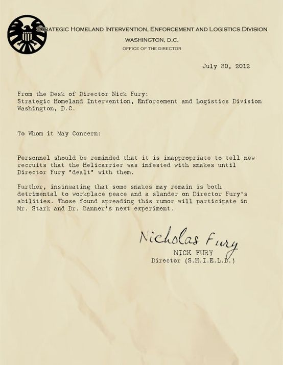 Memos from the desk of Nick Fury