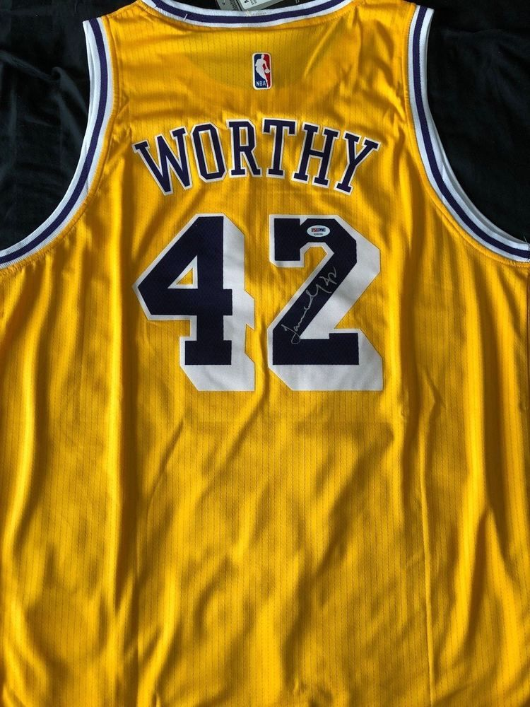 213b158f965 JAMES WORTHY Autograph Signed Los Angeles Lakers Jersey PSA/DNA COA # LosAngelesLakers