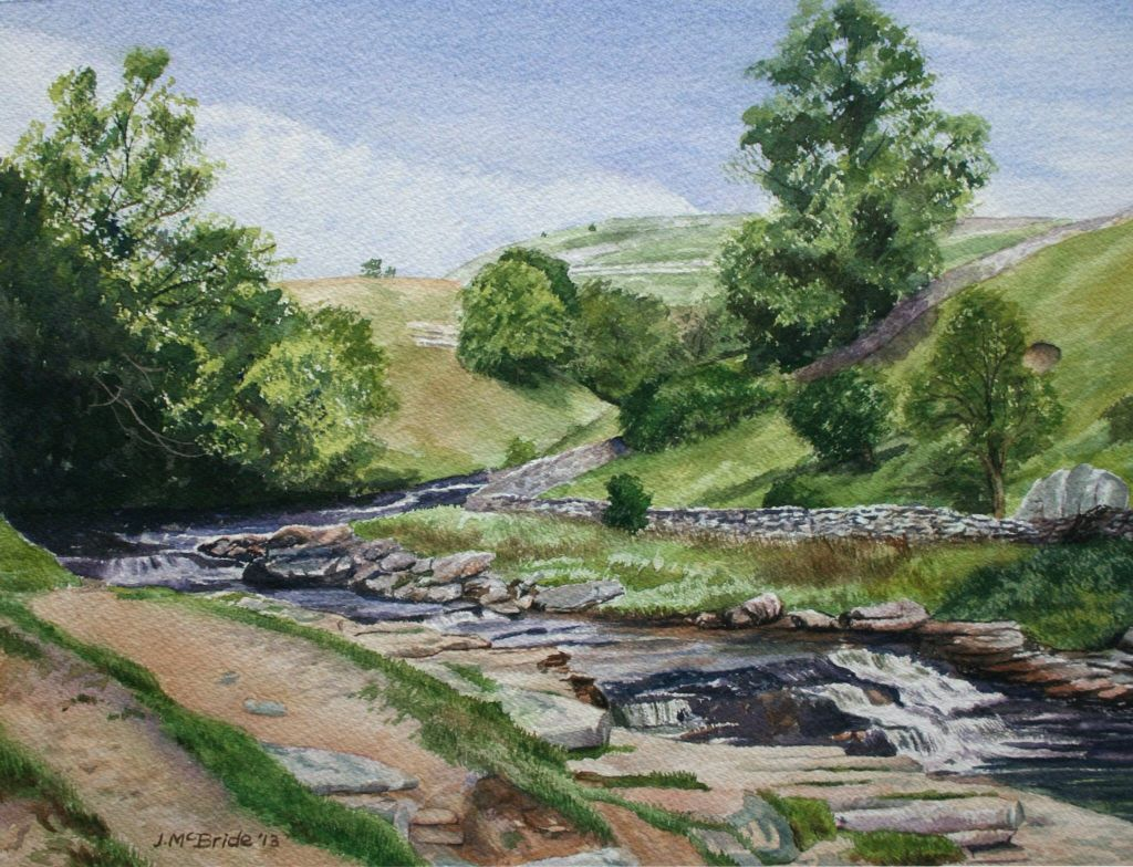 Ingleton waterfall walk, Yorkshire Dales - watercolour