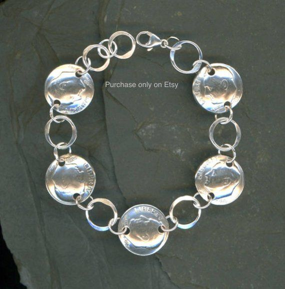50th Birthday Gift Jewelry Women 1968 Dime Coin Silver Bracelet Ideas For J