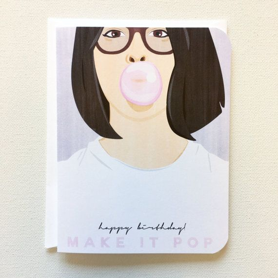 Modern Birthday Card Hipster Birthday Card Birthday Card For Her