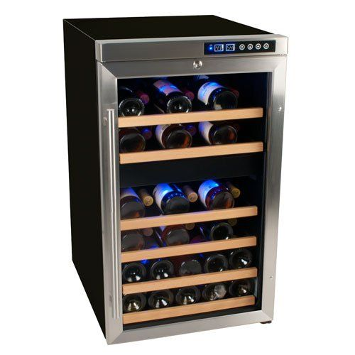 Edgestar 34 Bottle Free Standing Dual Zone Wine Cooler Black Stainless Steel With Images Small Wine Cooler Dual Zone Wine Cooler Built In Wine Cooler