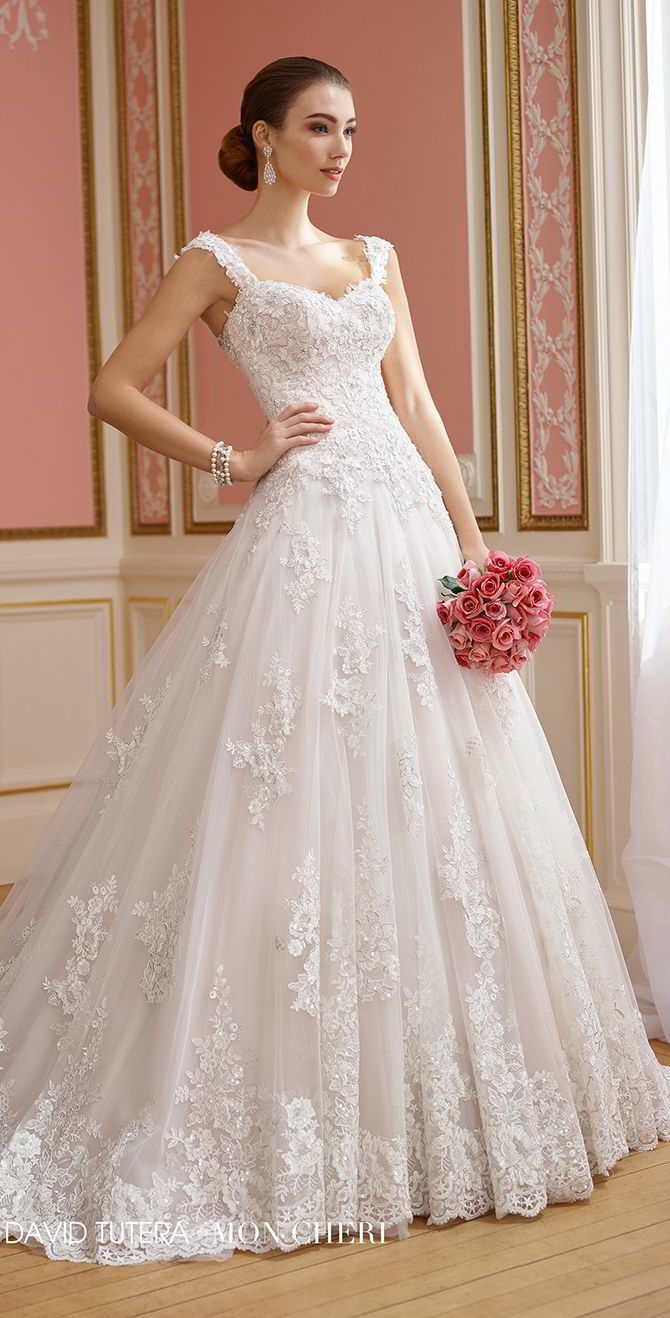 6bd2f190d13 Sleeveless tulle and organza over satin ball gown with wide tapered lace  straps