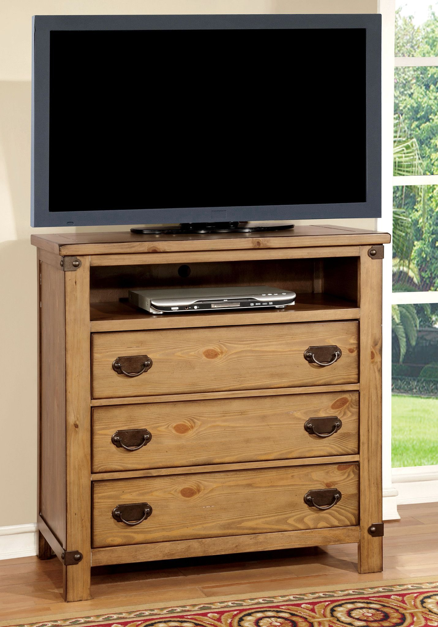 Himmel Country Style Tv Console Burnished Pine