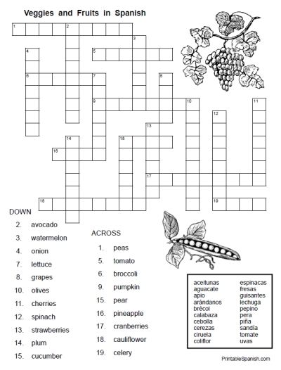 Veggies & Fruits in Spanish EASY crossword puzzle for FREE