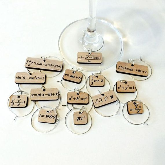 Wine Glass Charms  Math Equations by ShapeFoundry on Etsy