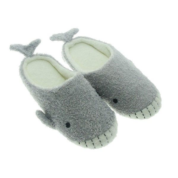 acf37ff80807 TOKYO-T Fluffy Animal Slippers for Women Whale House Slip On Cute ...