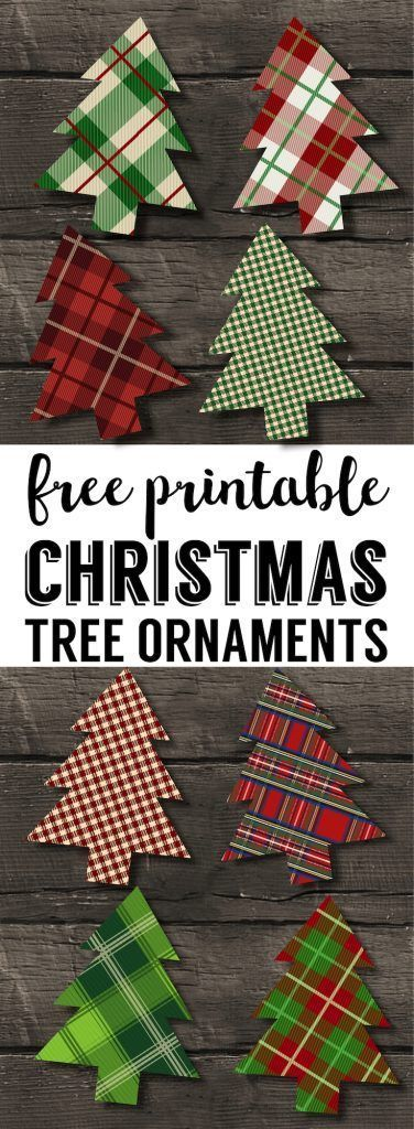 Plaid Christmas Tree Ornaments Printable Easy Christmas ornament