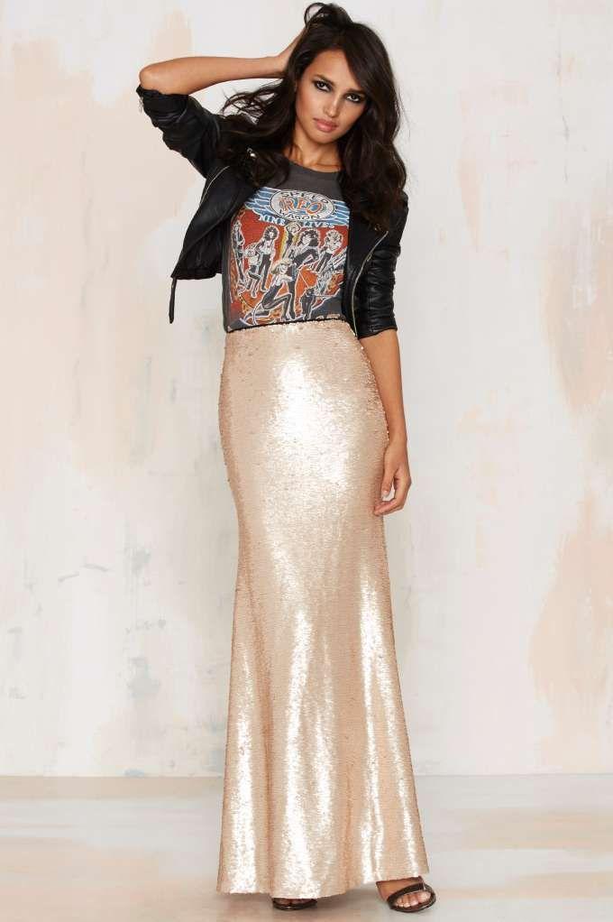 Sea of Gold Sequin Maxi Skirt - Sea Of Gold Sequin Maxi Skirt Fall Fashion 2016-2017 Pinterest