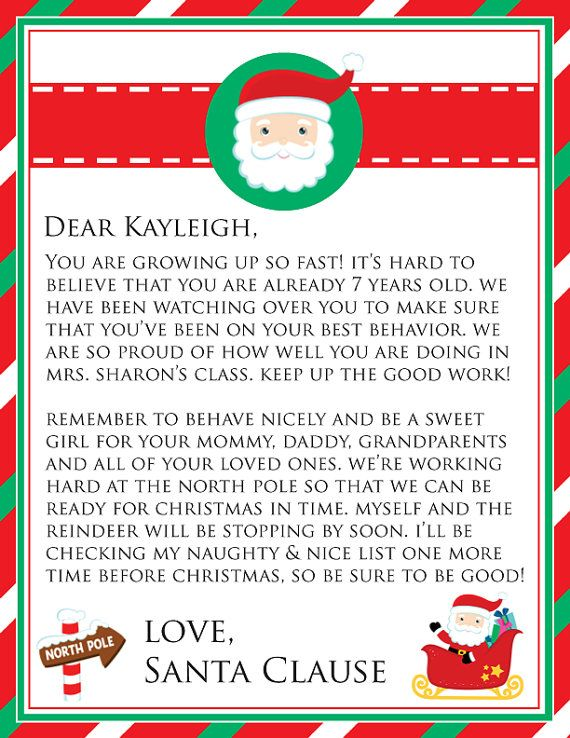 Personalized Printable Letter From Santa Glamdesignstudio  Glam