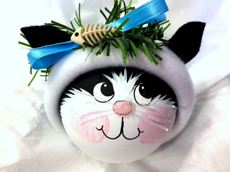 Black and White Cat Christmas Ornament Fish Bone