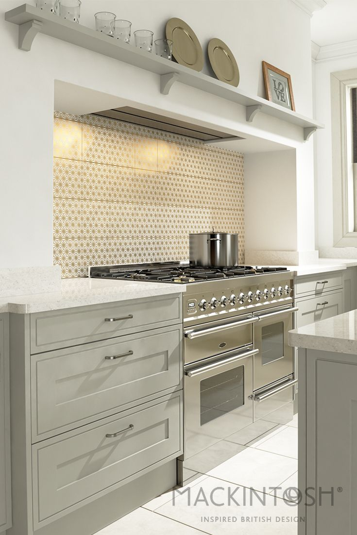 Traditional kitchen with a painted light grey in-frame effect door ...