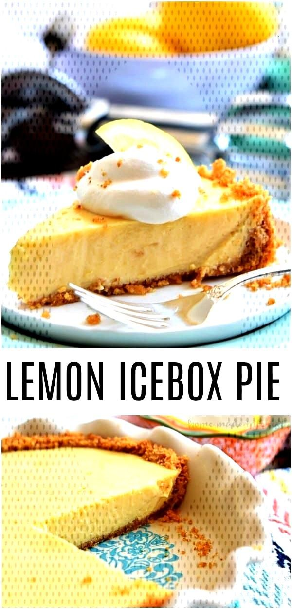 This Lemon Icebox Pie is acreamy lemon pie filling made with sweetened condens... - Food- Pies, Tar