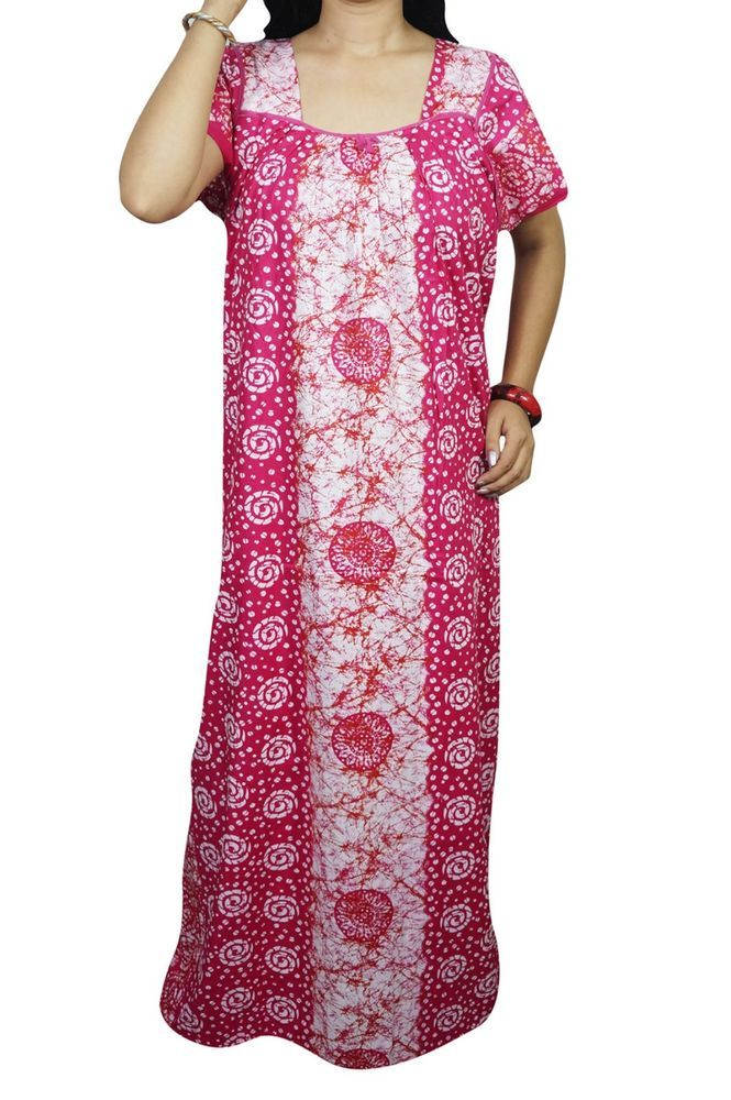 Indiatrendzs Women Cotton Nighty Batik Print Pink Sleepwear Maxi Night Gown  48  f34e58eb9