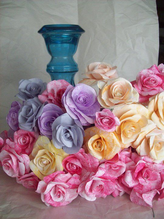 Boquet of handmade paper rosed in brilliant colors of blues, pinks, yellow and lavenders - make your table 'pop' with a boquet of these amazing flowers that will never die...