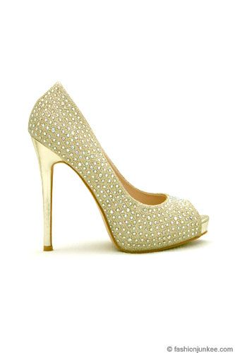 Glamorous Rhinestone Open Peep Toe Pumps Heels Wedding Shoes-Gold ...