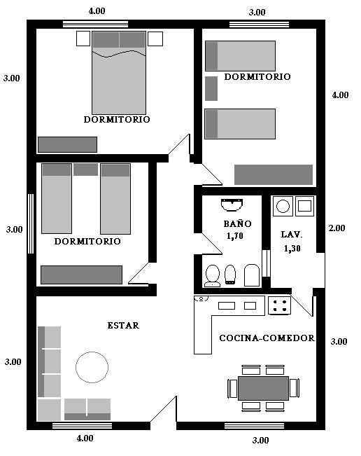 Plano de casa de 7x9m casa en 2019 for Planos de casas pequenas de una planta