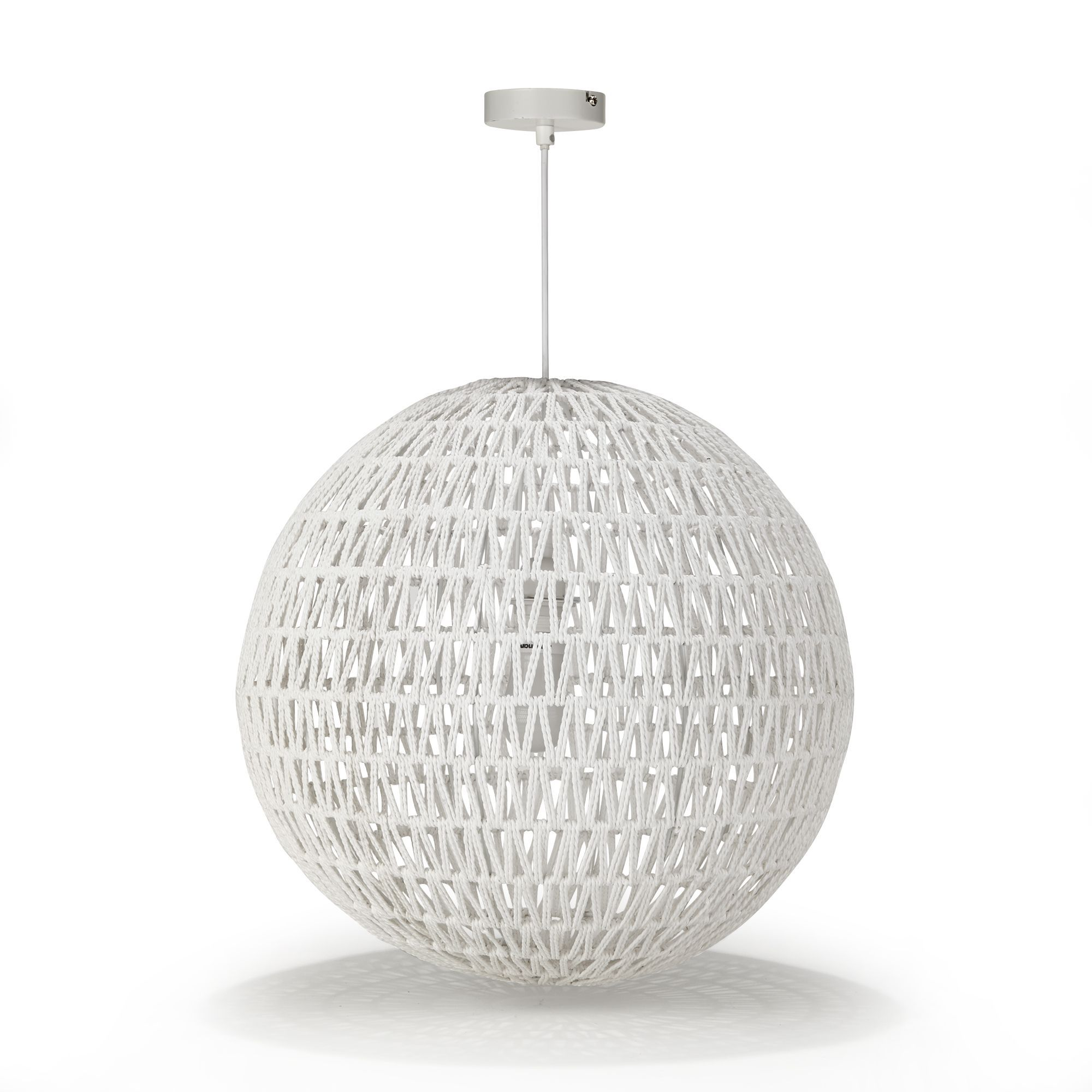 Suspension boule en cordes blanches non lectrifi e blanc for Luminaire suspension blanc