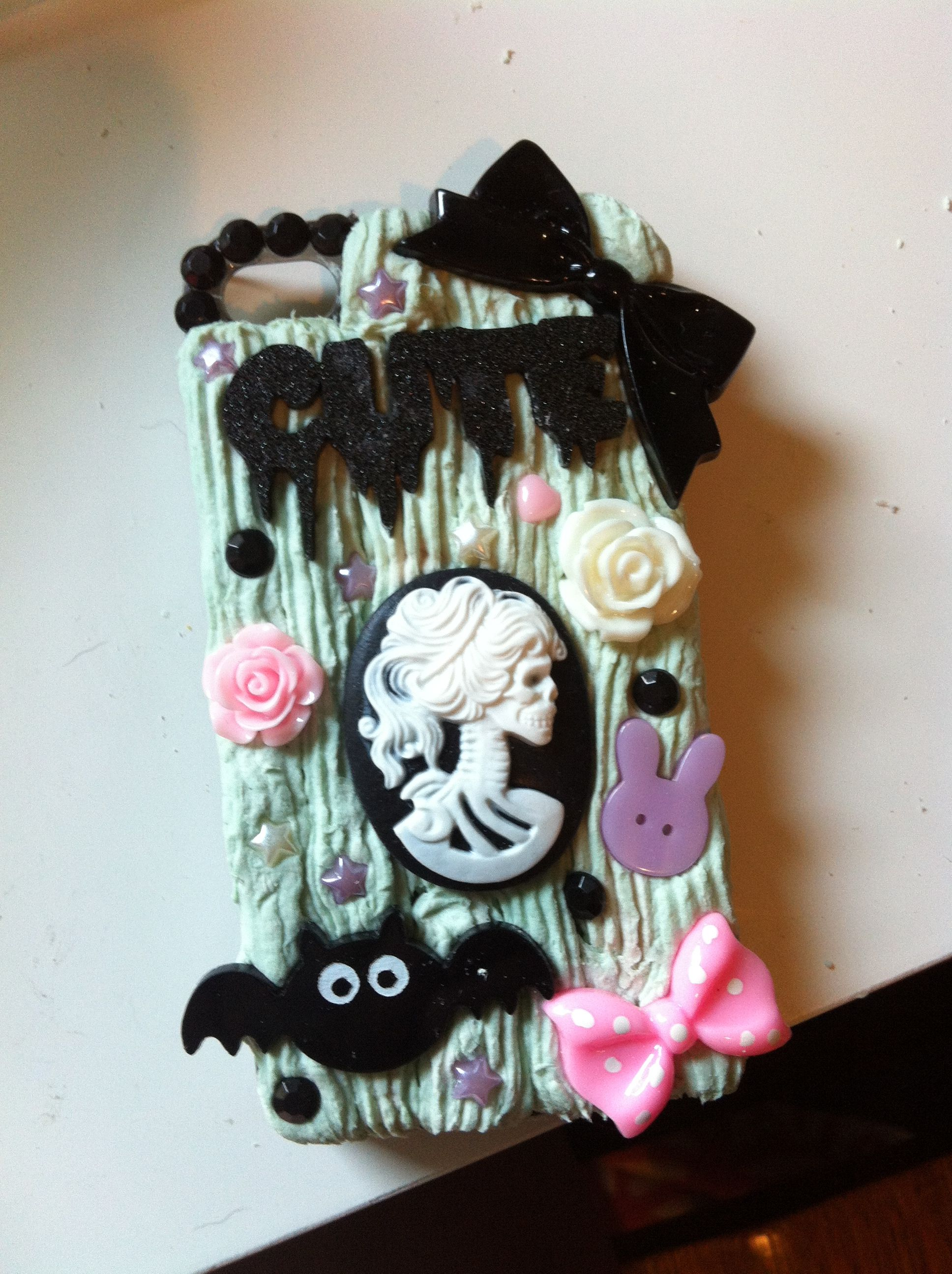 Handmade Gothic Harajuku Fashion W H Naoto Spiderweb Bag: My Handmade Pastel Goth Mint Green Decoden IPhone Case