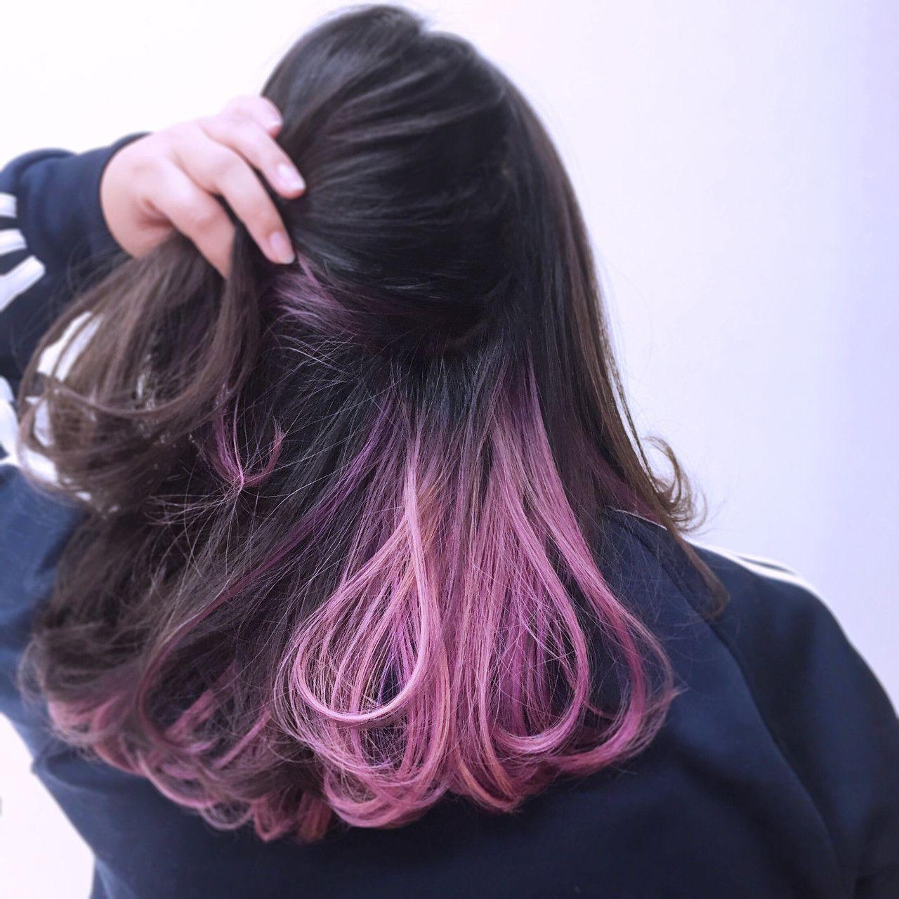 パープル ピンク ヴァイオレットのハーモニーミクスインナーカラー 髪 カラー 髪 色 ヘアスタイリング