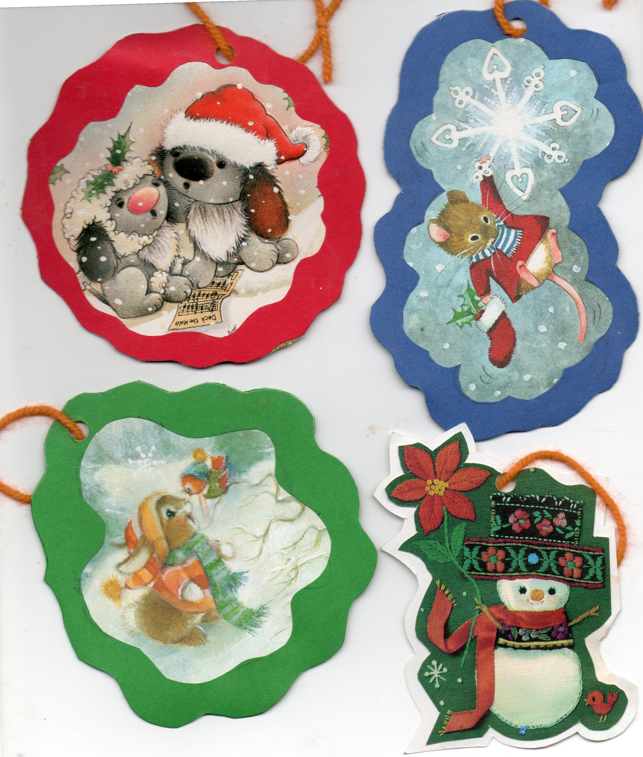 A few ornaments made from old Christmas cards~~~ | Christmas ...