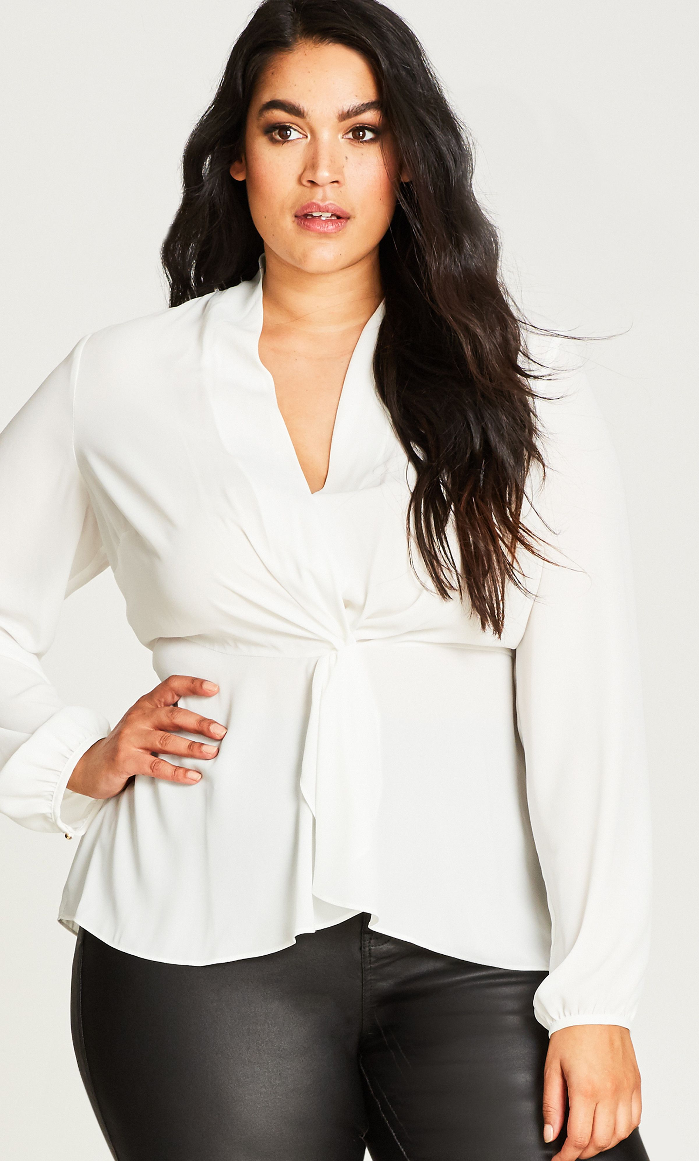 9510256609c Knot Front Top. Knot Front Top Plus Size ...