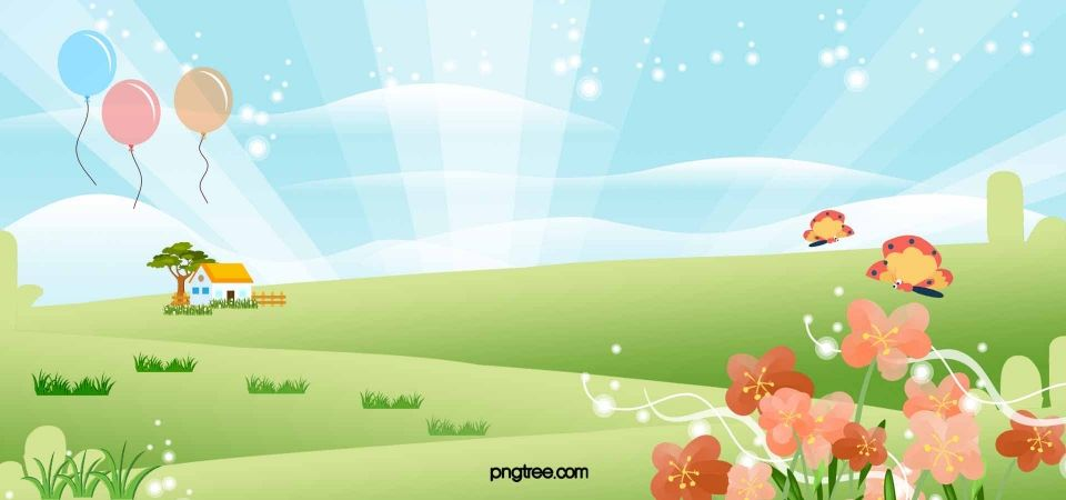 Romantic Spring Meadow Flowers Cartoon Butterfly Vector Background Material Watercolor Flower Background Flower Background Images Pink Flowers Background