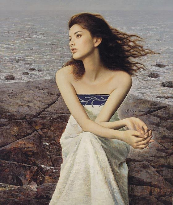 Romantic Oil Paintings Of Beautiful Chinese Girls By Xie Chuyu