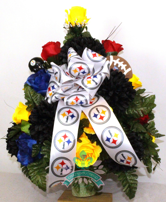 Beautiful XL Artificial Pittsburgh Steeler Fan Cemetery
