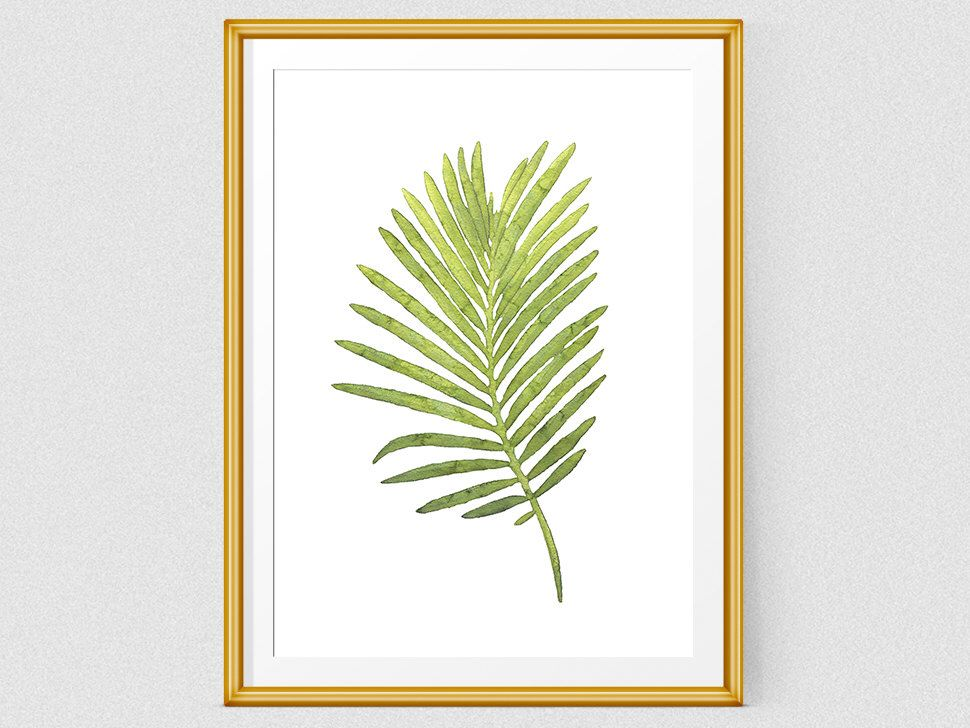 Watercolor tropical leaf art, Printable geen wall art, Laef print, Nature watercolor art, Home Decor Print, Botanical illustration by ruPrint on Etsy https://www.etsy.com/listing/464418396/watercolor-tropical-leaf-art-printable