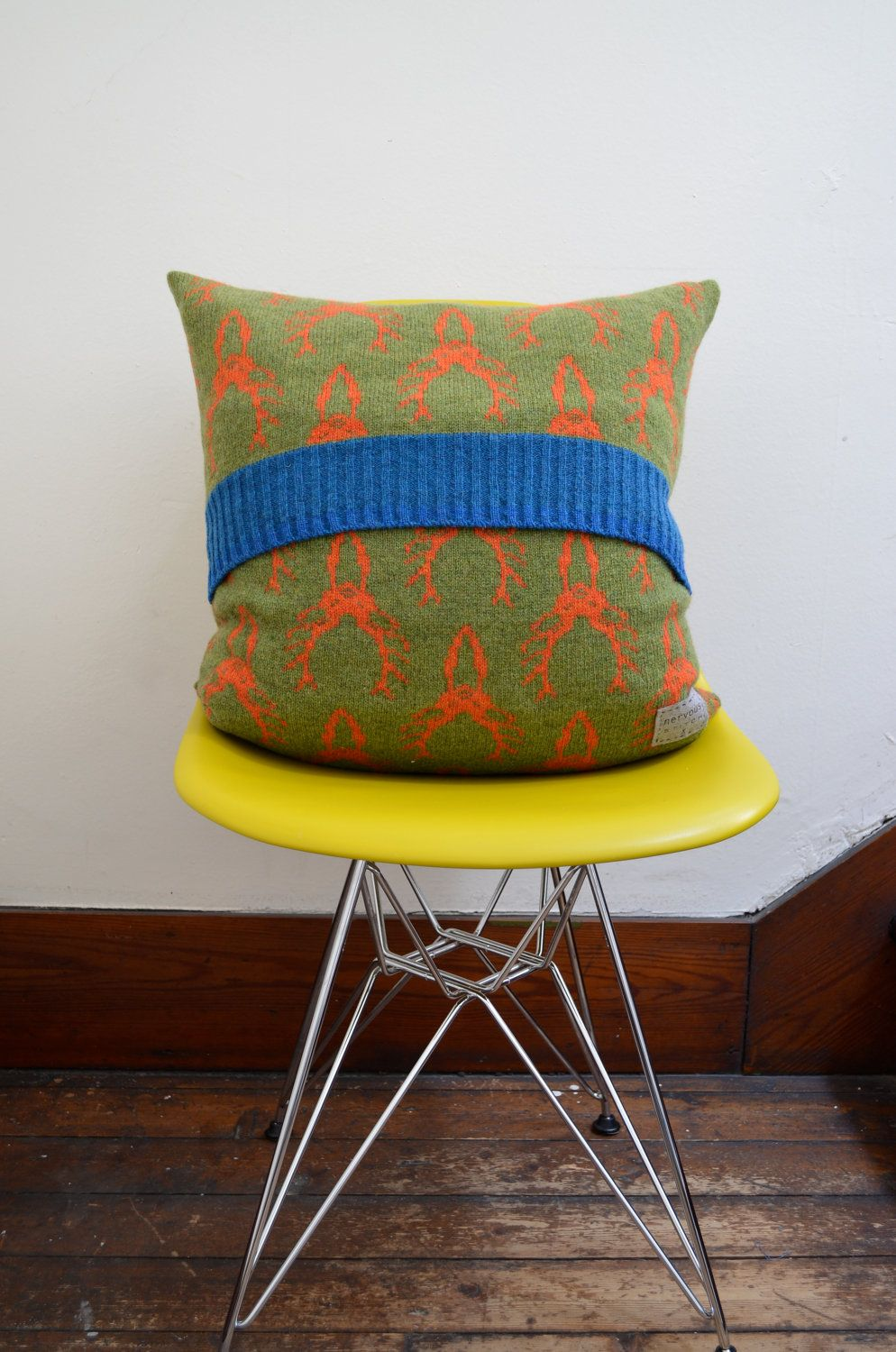 Knitted cushion stag cushion scottish lambswool cushion deer