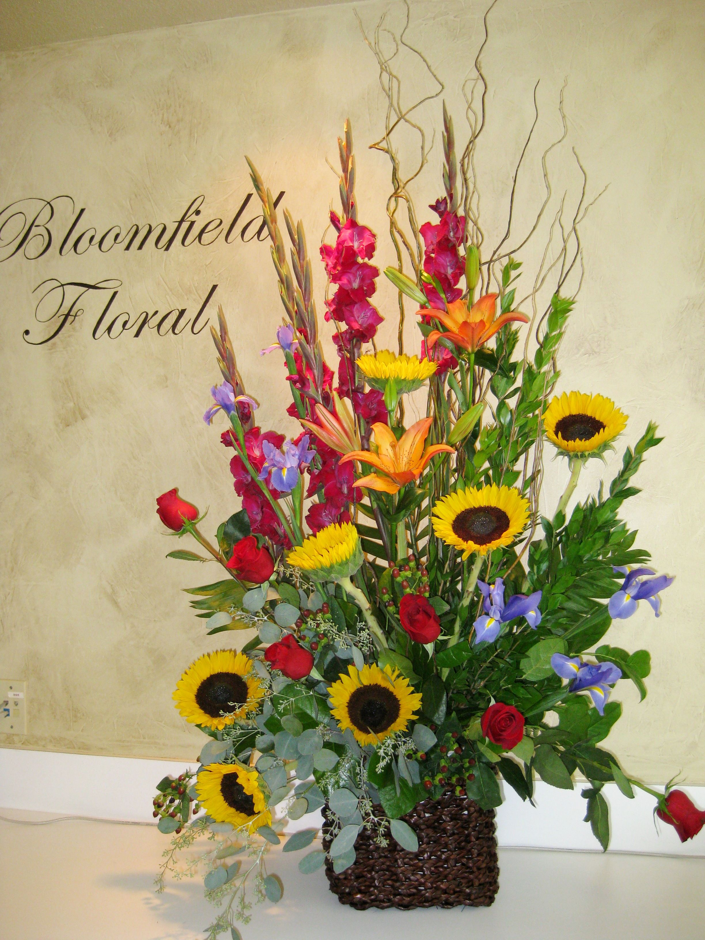 Funeral Basket Of Bright Color Flowers Funeralflowers Sunflowers