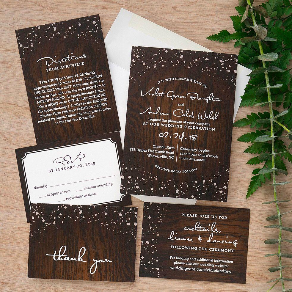 Cozy cabin wedding invitation suite wedding rsvp cards