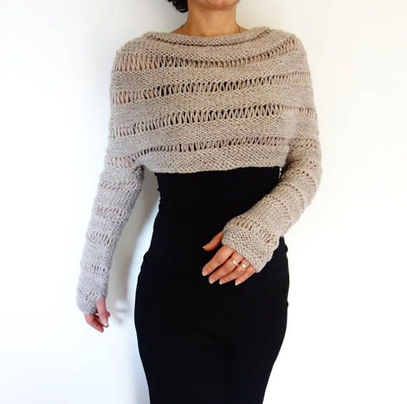 Photo of Sweater Knitting PATTERN – Oatmeal Cropped Thumb Hole Sweater/ Chunky Knit Shrug/ Adjustable Length