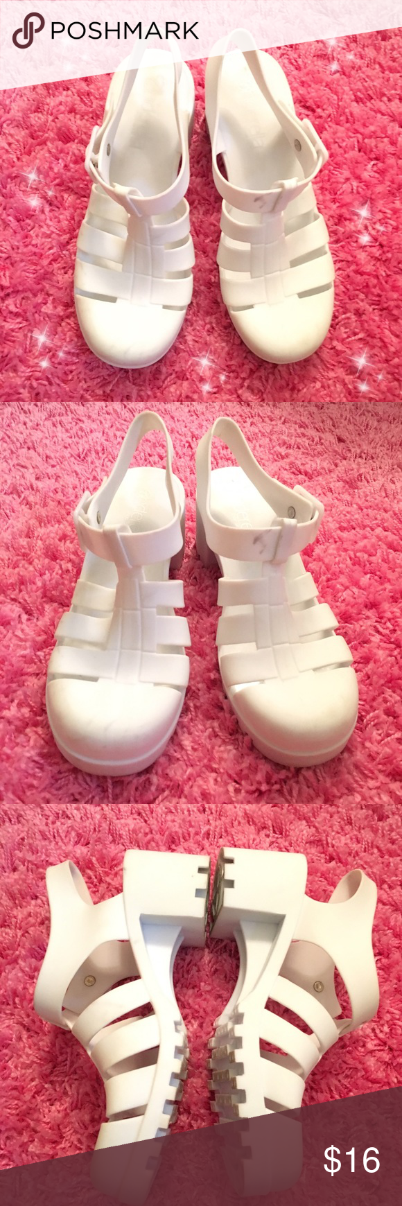White Jelly Sandal Shoes Who doesn't love Jelly shoes?! These rock. 😂💖 Slightly used, has some minor flaws but the shoe itself is in good condition! 💕😇✨ open to any reasonable offers! Shoes