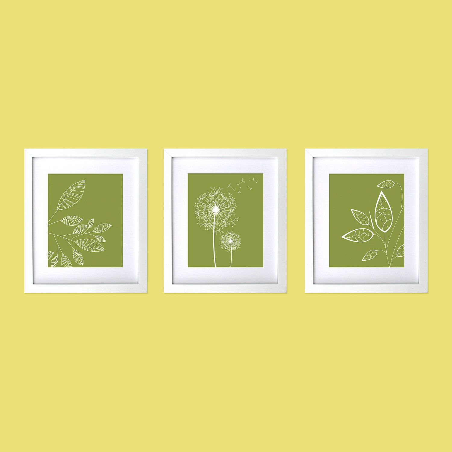 Modern Wall Decor Prints, Dandelions, Modern Flowers and leaves ...