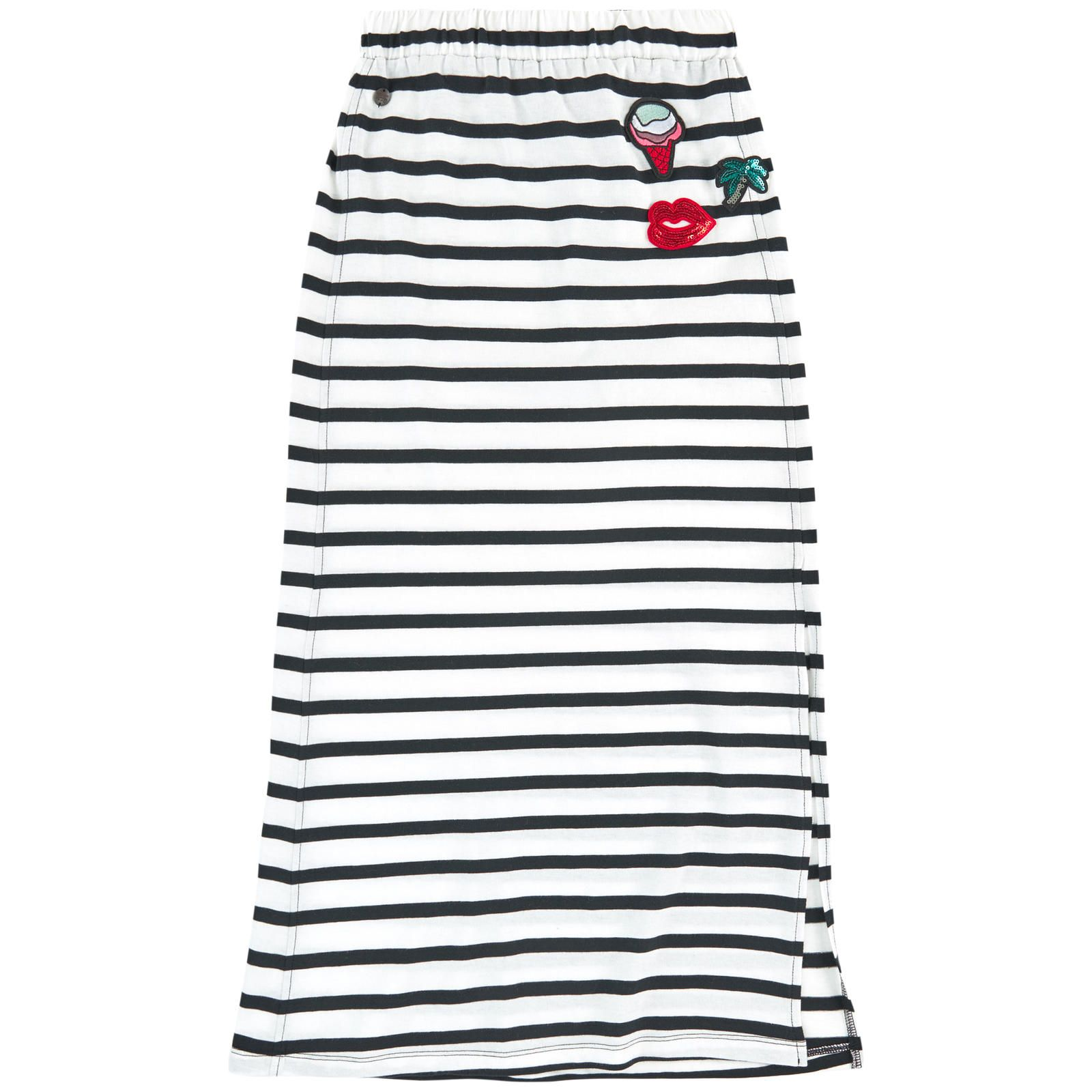 Cotton jersey  Pleasant to the touch Long cut Straight fit Slits at the bottom Elastic waistband Stripes Fancy patches Fancy sequins - 30,00 €