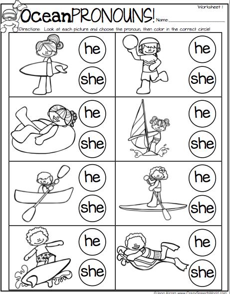 Ocean Pronouns Freebie Learning English For Kids Pronoun Worksheets Kindergarten Personal Pronouns Worksheets