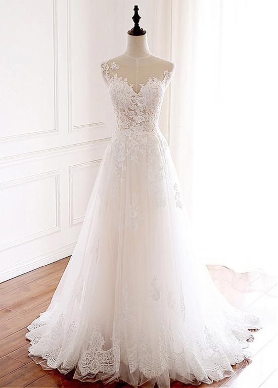 [198.50] Elegant Tulle Jewel Neckline Full-length A-line Wedding With Lace Appliques – magbridal.com.cn