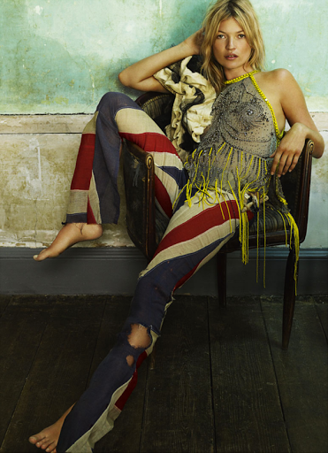 Distressed and ripped Union Jack pants (cotton or linen) are so cool! Especially with an ornate eclectic dressy  top- so chic. Would look even better with a tight white short sleeve tee. If you can sew these pants wouldn't be too hard to recreate!